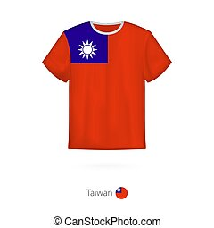 T-shirt design with flag of Taiwan