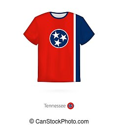 T-shirt design with flag of Tennessee U.S. state.