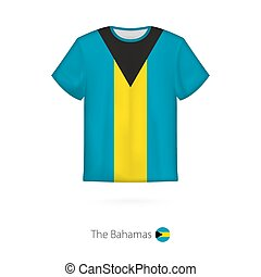 T-shirt design with flag of The Bahamas.