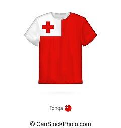 T-shirt design with flag of Tonga.
