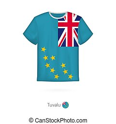 T-shirt design with flag of Tuvalu.