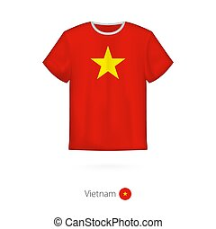 T-shirt design with flag of Vietnam.