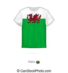 T-shirt design with flag of Wales.
