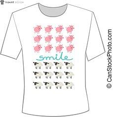 t shirt design with happy cartoon animals