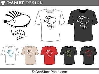 t shirt design with hedgehog - Illustration of T-Shirt...