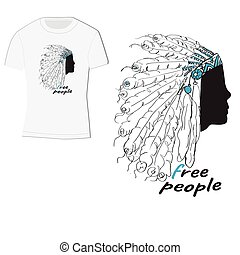 t-shirt design with Indian headdress with feathers, label-free people