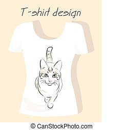 T-shirt design with outline silhouette cat