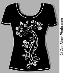 t-shirt design  with  vintage floral element
