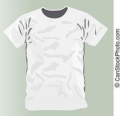 t-shirt, devant, blanc, conception, gabarit