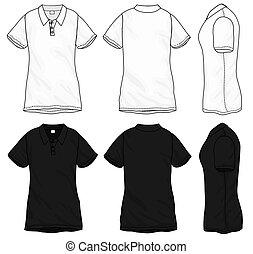 t-shirt, disegno, sagoma, polo, nero, bianco