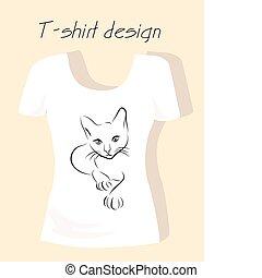 t-shirt, disegno, silhouette, contorno, gatto