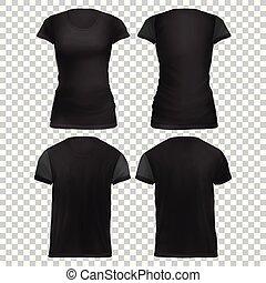 t-shirt, donne, manichino, nero, front+back