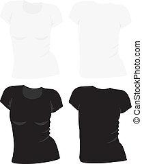 t-shirt, donne, vettore, sagoma