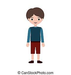 t-shirt, enfant, chaussures, pantalon, debout
