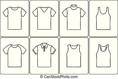 t-shirt, esboço, ícone