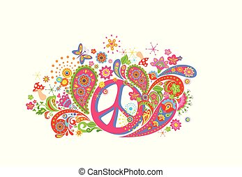 T-shirt fashion design with colorful print with hippie peace symbol, abstract flowers, mushrooms, butterfly and paisley on white background