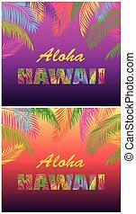 T shirt fashion prints variation with Aloha Hawaii lettering...