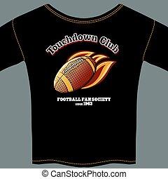 t-shirt, football americano, sagoma