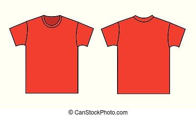 t-shirt, frente, template., costas, em branco