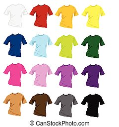 t-shirt, gabarits, conception, coloré