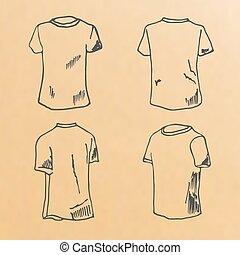 t-shirt, gabarits, croquis, conception