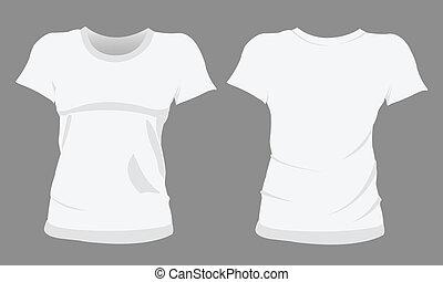t-shirt, gabarits, femme, conception