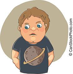 t-shirt, garçon, dessin animé, honteux, mignon
