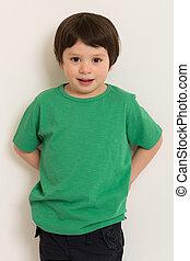 t-shirt, garçon, vert