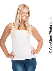 t-shirt, girl, blanc, adolescent, vide