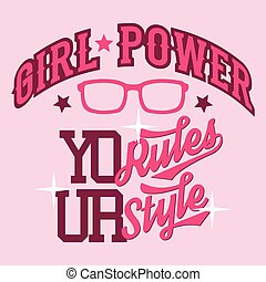 t-shirt, girl, conception, puissance