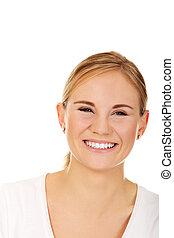 t-shirt, glimlachende vrouw, jonge, witte