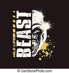 t-shirt., gorilla, vettore, disegno, vita, grafico, selvatico, beast.