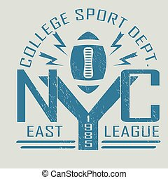 t-shirt graphics - New York Sport Typography, University...