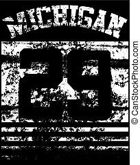 t-shirt, graphics., tipografia, università, michigan