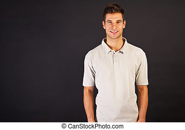 t-shirt, grigio, backgraund, nero, polo, sorriso, uomo