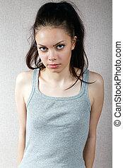 t-shirt, gris, girl, portrait