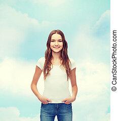 t-shirt, het glimlachen, witte , tiener, leeg