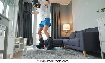 t-shirt, heureusement, neigeux, short, amusement, room., moquette, danse, confortable, hiver, video., attente, avoir, homme, équipement, snowboarding