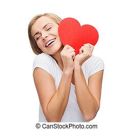 t-shirt, hjärta, le womanen, vit