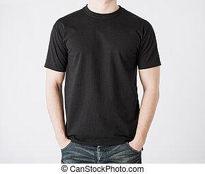 t-shirt, homem, em branco