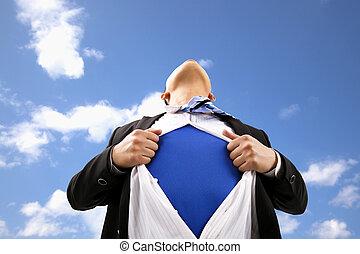 t-shirt, homem negócios, seu, puxando, abertos