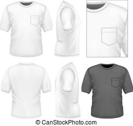 t-shirt, homens, desenho, modelo