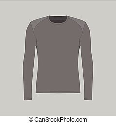 t-shirt, homens, pretas, manga longa