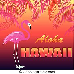 T shirt hot tropical print with Aloha Hawaii lettering,...