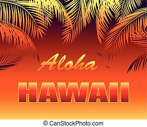 T-shirt hot tropical print with Aloha Hawaii lettering,...