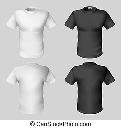 T-shirt design template (front and back). Black and white.