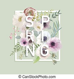 t-shirt, impressões, gráfico, moda, primavera, -, anemone,...