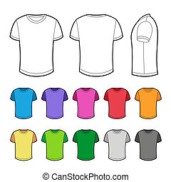 T-shirt in various colors. Vector Illustration on white background.