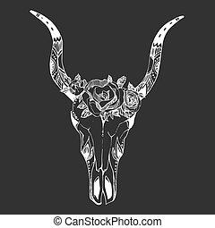 t-shirt, kartka pocztowa, czaszka, wizerunek, boho, wektor, zaproszenie, szykowny