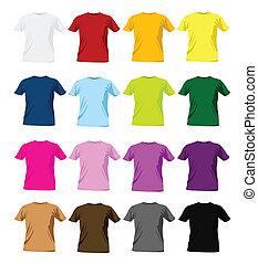 t-shirt, kleurrijke, ontwerp mallen